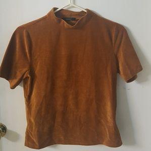 high collar velvet T shirt